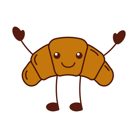 delicious croissant bread character vector illustration Ilustrace