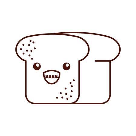 cartoon tasty bread leaf fresh vector illustration