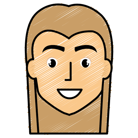 young man with hair long avatar character vector illustration design Illustration