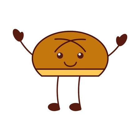 cartoon bun bread food   funny vector illustration Ilustração