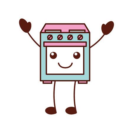 만화 귀여운 난로 오븐 어플 라 이언 스 벡터 일러스트 레이션