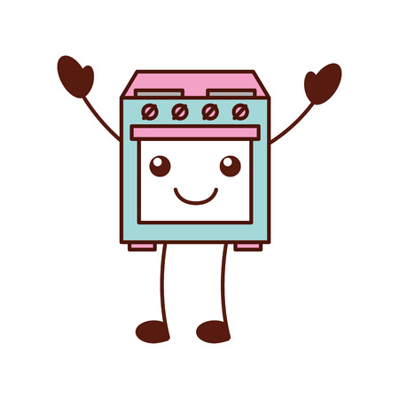 cartoon cute stove oven appliance   vector illustration Ilustração
