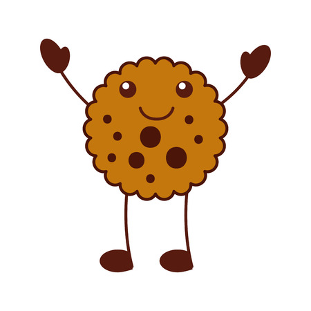 cartoon cook chocolate chip cookie emotion  smiling vector illustration