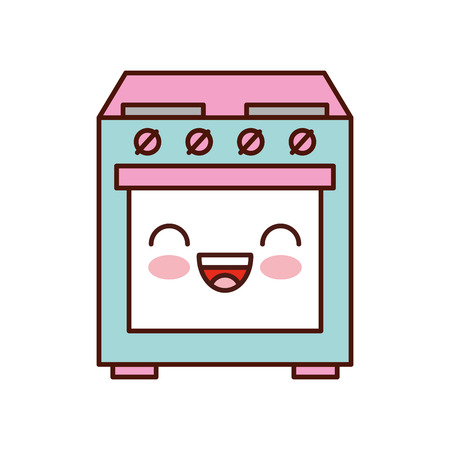 cute appliance oven kitchen machine image vector illustration Banco de Imagens - 85141764