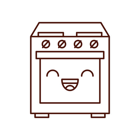 cartoon cute stove oven appliance
