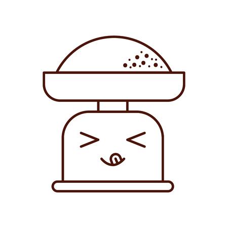 漫画重量スケール小麦粉文字ベクトル図
