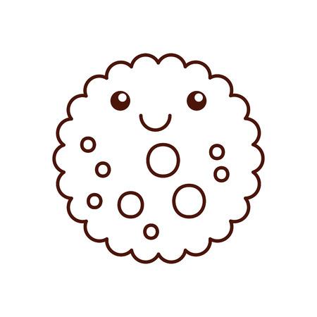 cartoon cook chocolate chip cookie emotie lachend vectorillustratie