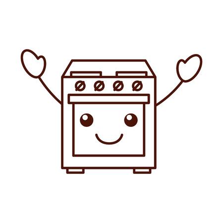 cartoon cute stove oven appliance vector illustration