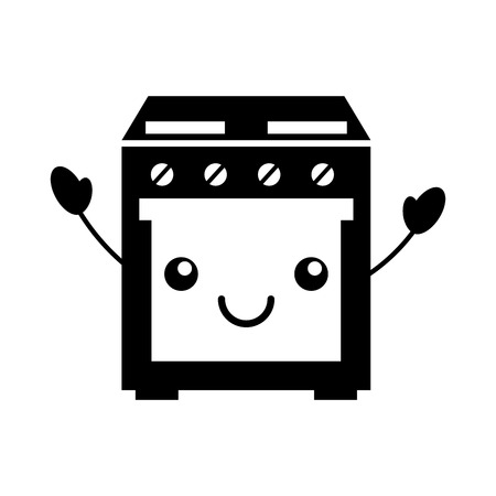 cartoon cute stove oven appliance  vector illustration 向量圖像