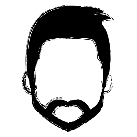 smart boy: young man head with beard avatar character vector illustration design