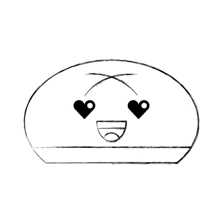 cartoon bread bun food icon vector illustration