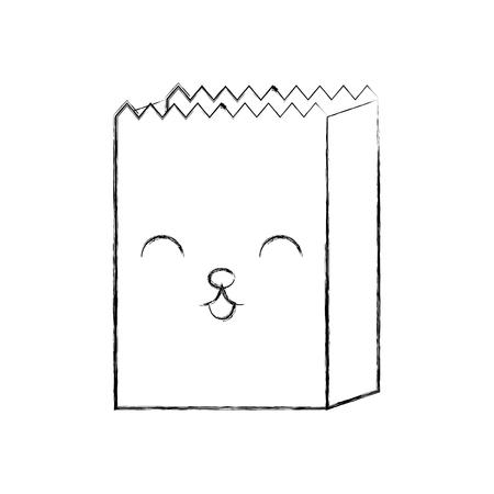 cartoon paper bag shop image vector illustration