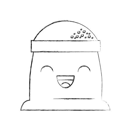 cartoon zak bloem bakkerij vectorillustratie