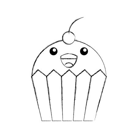 fun cupcake sweet cartoon food vector illustration