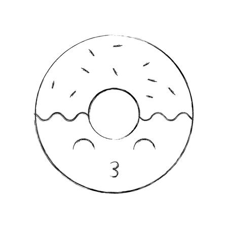 sweet donut dessert pastry cartoon vector illustration