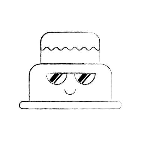 brithday cake funny cartoon sweet vector illustration