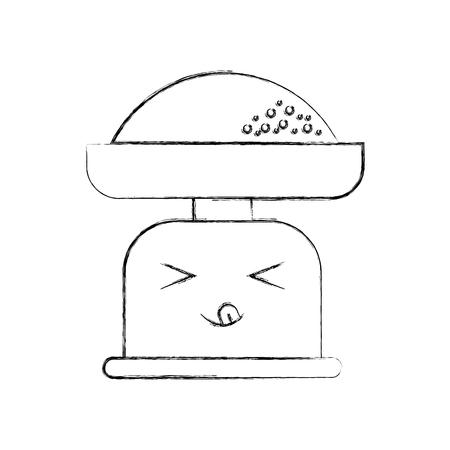 cartoon gewicht schaal bloem keuken pictogram vectorillustratie