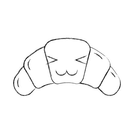 fun croissant bread bake cartoon vector illustration