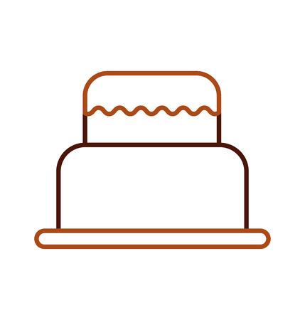 sweet baked cake birthday cream delicious vector illustration Illustration