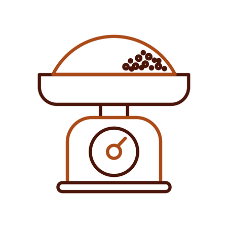kitchen weight scale with flour measure vector illustration