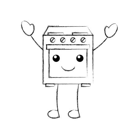 oven toestel thuis karakter vectorillustratie