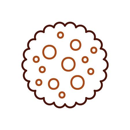 チョコレート チップ クッキー デザート アイコン ベクトル図を食べる  イラスト・ベクター素材