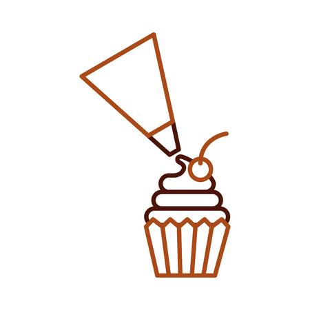 パイピングバッグは、白背景ベクトルイラストに分離されたカップケーキペストリーをフロスティング 写真素材 - 85135962