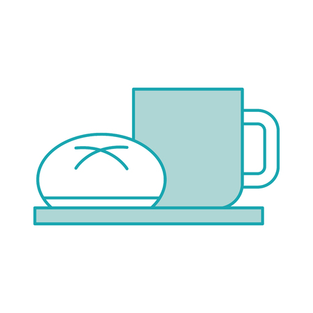 coffee cup bun bread dish breakfast food fresh hot vector illustration Ilustração