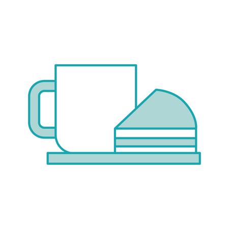 Frische heiße Vektorillustration der Kaffeetassekuchenbeerensahneteller-Imbiss Standard-Bild - 85140602