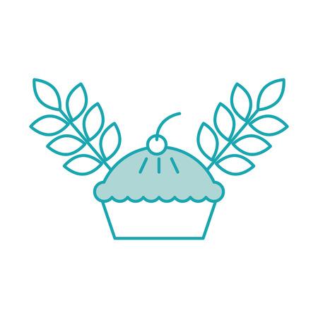 Gâteau de blé et de blé grain berry boulangerie alimentaire illustration vectorielle Banque d'images - 85140613