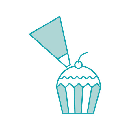 つや消しホワイト バック グラウンド ベクトル図に分離されたカップケーキ生地パイピング バッグ