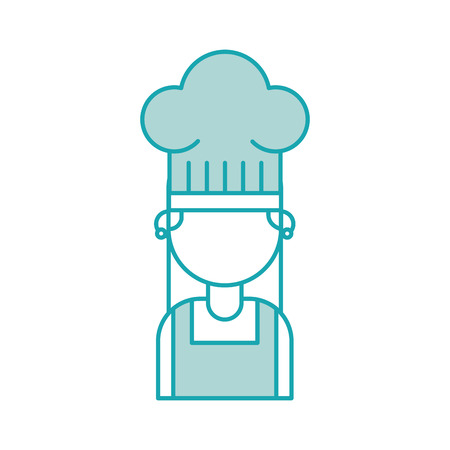 cute chef woman in uniform and hat character vector illustration