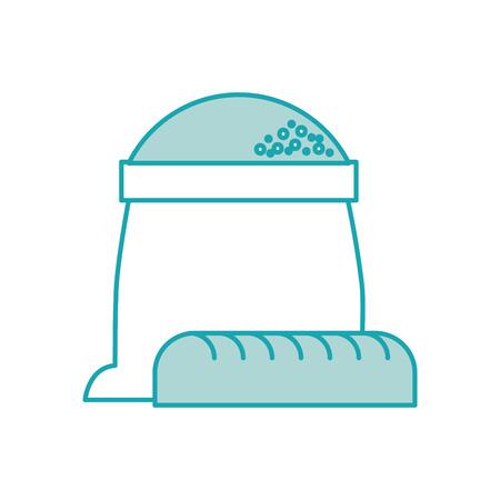 Sacco di panetteria di farina con illustrazione vettoriale intera pane Archivio Fotografico - 85136736