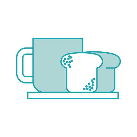 coffee cup bread dish breakfast food fresh hot vector illustration