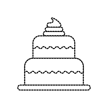 sweet baked cake birthday cream delicious vector illustration 向量圖像