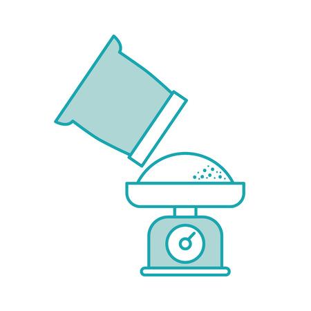 体重計と小麦粉袋調理食品ベーカリー ベクトル図