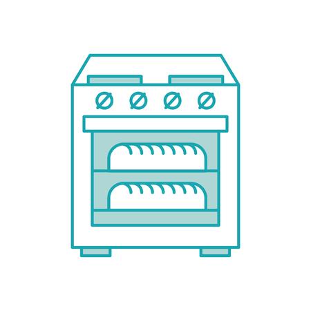 2 つの熱いパン アイコン ベクトル イラスト ストーブ オーブン