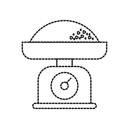 Keuken gewicht schaal met bloem maat vector illustratie Stockfoto - 85136219
