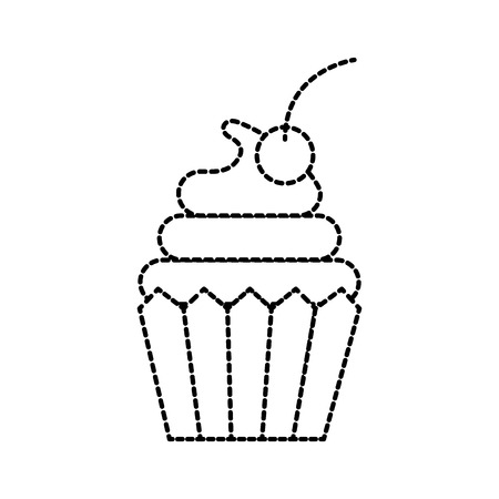 cupcake cherry and icing bakery pastry food fresh vector illustration Illusztráció
