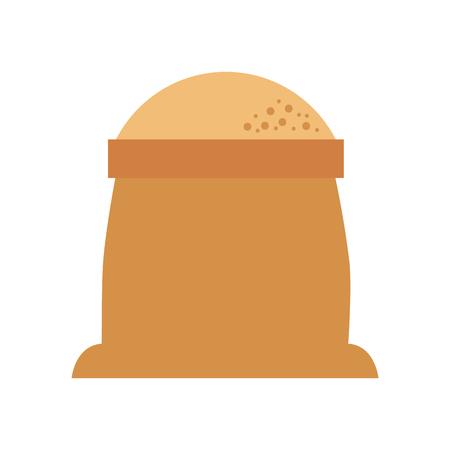 sack of flour grain ingredient bakery icon vector illustration