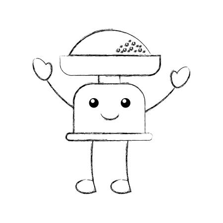 漫画重量スケール小麦粉キッチン アイコン ベクトル図