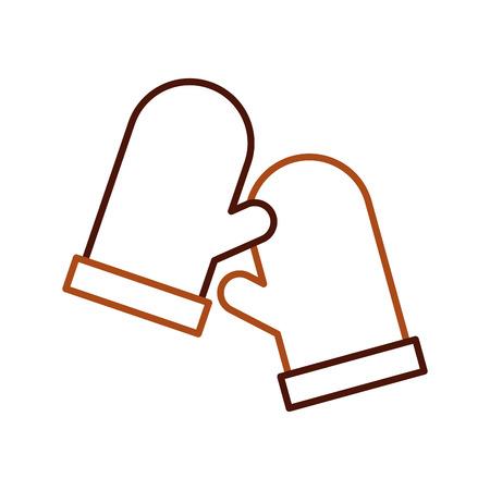 Holderpot-Küchenikone mit zwei Handschuhen auf weißer Hintergrundvektorillustration Standard-Bild - 85136609