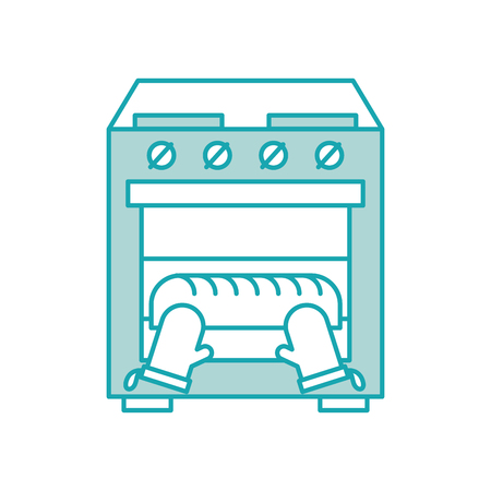 baking bread in the oven kitchen homework vector illustration