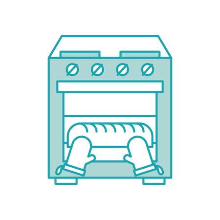 brood bakken in de oven keuken huiswerk vector illustratie Stock Illustratie