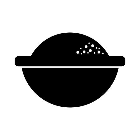 cartoon bowl with flour ingredient bakery and dessert vector illustration Illustration