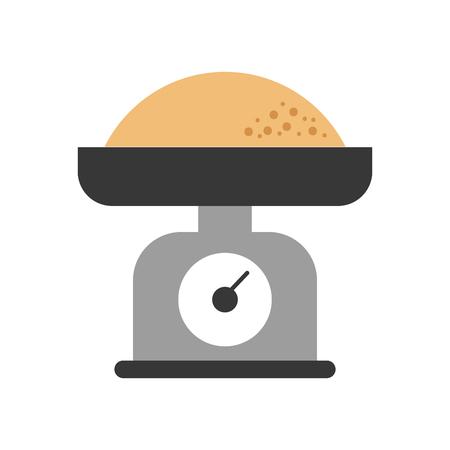小麦粉メジャーベクトルイラストとキッチン重量スケール