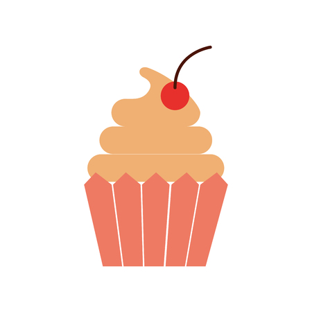 cupcake cherry and icing bakery pastry food fresh vector illustration Illustration