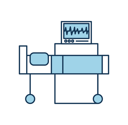 hospital interior with heart rate monitor bed medical equipment vector illustration