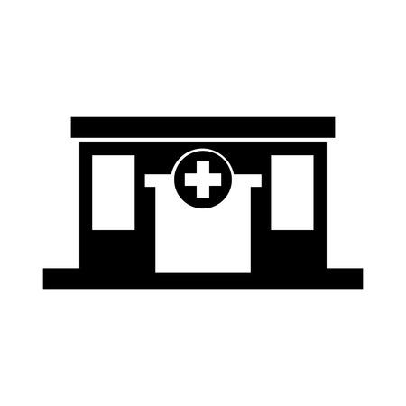 病院医療センター正面のアイコン イラストを構築