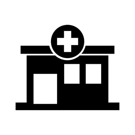 病院ビル医療センター正面図アイコン図  イラスト・ベクター素材